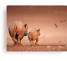 Black Rhino cow and calf Canvas Print