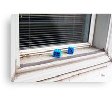 Blue Dice Metal Print