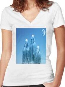 ICE BLUE SKY Women's Fitted V-Neck T-Shirt