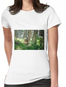 Timberwolf in Forest Womens Fitted T-Shirt