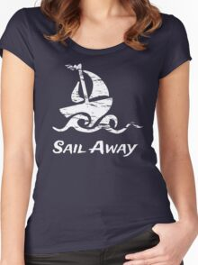 Sail Away: White Sailboat Women's Fitted Scoop T-Shirt