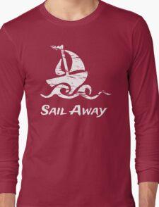 Sail Away: White Sailboat Long Sleeve T-Shirt