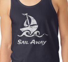Sail Away: White Sailboat Tank Top