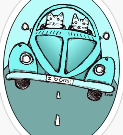 Teal VW Cats Sticker