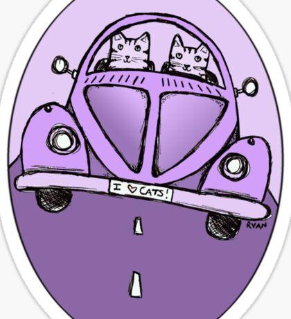 Purple VW Cats Sticker