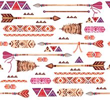Arrows and Feathers Watercolor Tribal Boho Pattern by junkydotcom