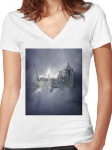 Castle in the Sky Women's Fitted V-Neck T-Shirt