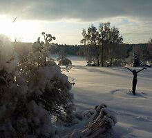 Snowy Sunrise - Roffey Park by Adrian S. Lock