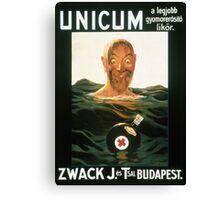 Zwack Unicum drowning man poster Canvas Print