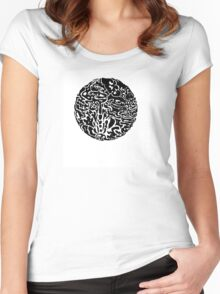 Black and white abstract circle Women's Fitted Scoop T-Shirt