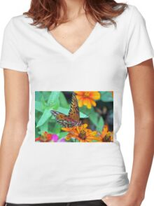 Monarch Butterfly Resting Women's Fitted V-Neck T-Shirt