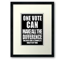 One Vote (Negative) Framed Print