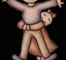 Funny Cartoon Couple Girl Hugging Boy by ArtistryByLM