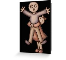 Funny Cartoon Couple Girl Hugging Boy Greeting Card