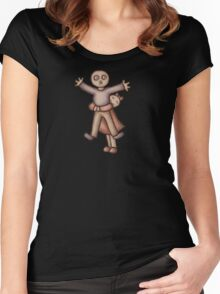 Funny Cartoon Couple Girl Hugging Boy Women's Fitted Scoop T-Shirt