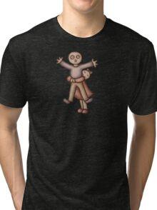 Funny Cartoon Couple Girl Hugging Boy Tri-blend T-Shirt