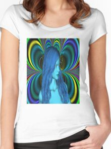Blue Contemplation Women's Fitted Scoop T-Shirt