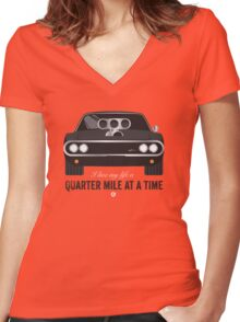 Cinema Obscura Series - The Fast & the Furious - Quarter Mile Women's Fitted V-Neck T-Shirt