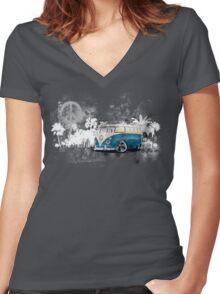 Splitty Grunge (W) Women's Fitted V-Neck T-Shirt