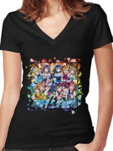 μ's (KiRa KiRa Sensation camo edit.) Women's Fitted V-Neck T-Shirt