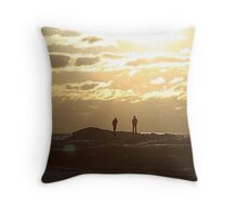 winter sunset on silver beach Throw Pillow