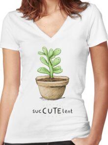 SucCUTElent Women's Fitted V-Neck T-Shirt