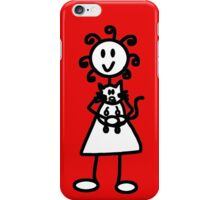 The Girl with the Curly Hair Holding Cat - Red iPhone Case/Skin