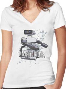 I Main R.O.B. - Super Smash Bros. Women's Fitted V-Neck T-Shirt