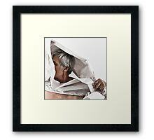 SELF PORTRAIT WITH PAPER Framed Print