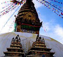 sacred spire. swayambhunath, nepal by tim buckley | bodhiimages