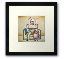 Funny Cartoon Couple Girl Kissing and Boy Mad Framed Print