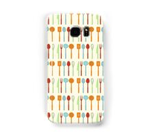 Kitchen Utensil Colored Silhouettes on Cream Samsung Galaxy Case/Skin