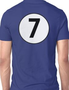 7, Seven, Seventh, Number, Number 7, Racing, Seven, Competition, on Navy Blue Unisex T-Shirt