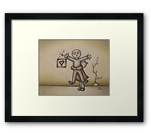 Cute Cartoon Drawing of Girl Hugging Boy Framed Print
