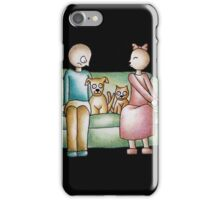Funny Cartoon Couple Girl Kissing and Boy Mad  iPhone Case/Skin