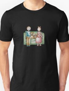 Funny Cartoon Couple Girl Kissing and Boy Mad  T-Shirt