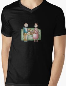 Funny Cartoon Couple Girl Kissing and Boy Mad  Mens V-Neck T-Shirt