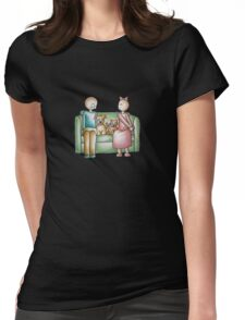 Funny Cartoon Couple Girl Kissing and Boy Mad  Womens Fitted T-Shirt