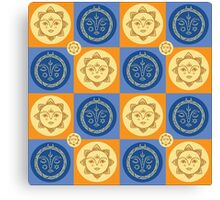 Sun and moon pattern Canvas Print
