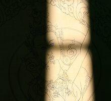 outline. tibetan thangka, india by tim buckley   bodhiimages