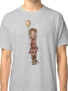 Cute Punk Cartoon of Girl Holding Green Balloon  Classic T-Shirt