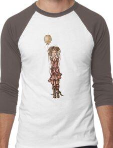 Cute Punk Cartoon of Girl Holding Green Balloon  Men's Baseball ¾ T-Shirt