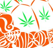 Turtle with Marijuana Leaves Sticker
