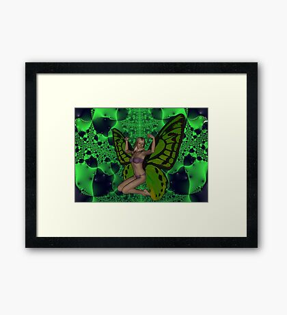 Green Mad Butterfly Woman Framed Print