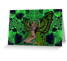 Green Mad Butterfly Woman Greeting Card