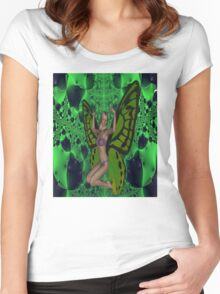 Green Mad Butterfly Woman Women's Fitted Scoop T-Shirt