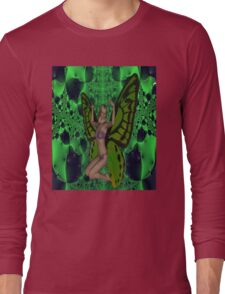Green Mad Butterfly Woman Long Sleeve T-Shirt