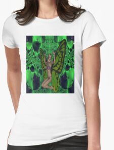 Green Mad Butterfly Woman Womens Fitted T-Shirt