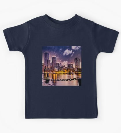 Skyline of Boston Harbor  Kids Tee