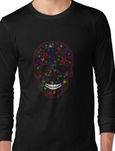 Human Skull with Flowers and Butterflies Long Sleeve T-Shirt